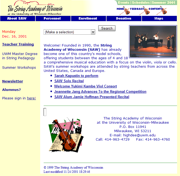 Snapshot of Original SAW Website from 2001