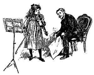 Violin Teacher and Student Illustration