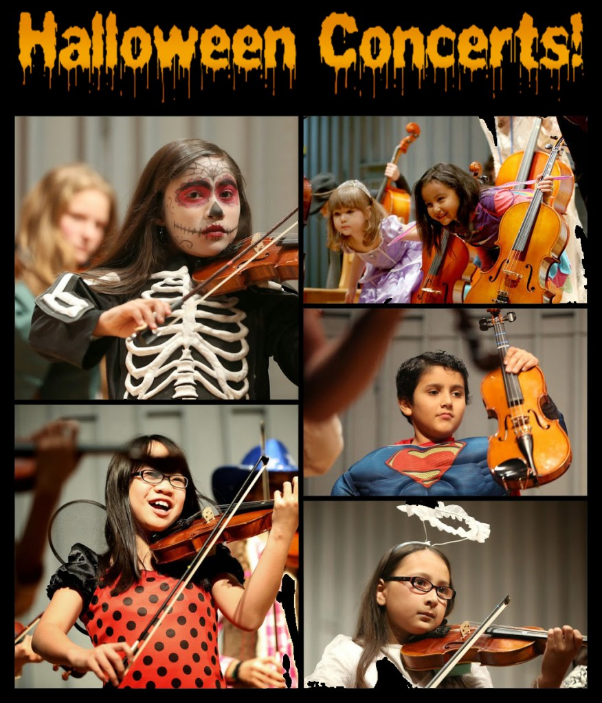Kids in Costumes Playing Violin and Cello